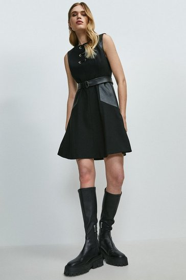 Black Compact Stretch Pu Panelled Eyelet Dress