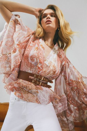 Pink Paisley Drama Sleeve Belted Top