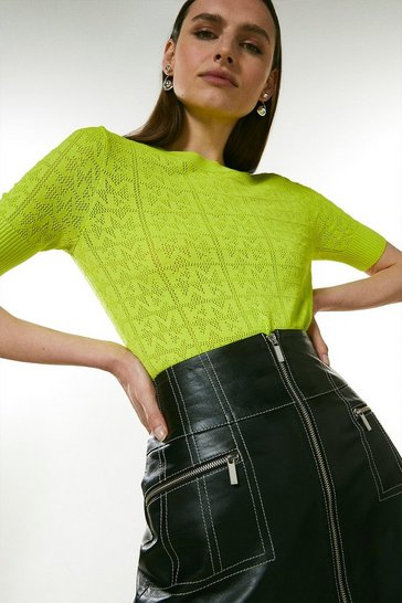 Lime Sporty Logo Pointelle Knitted Tee