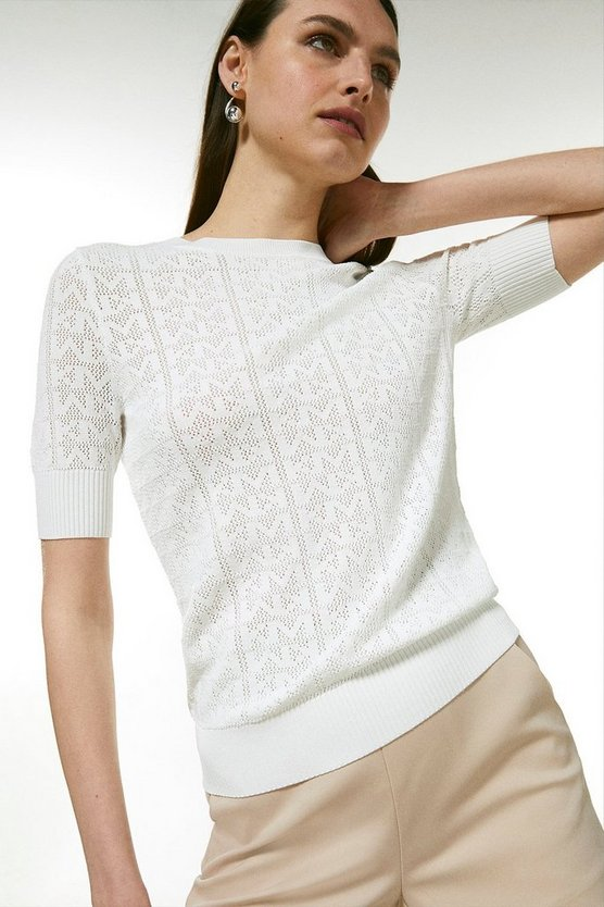 White Sporty Logo Pointelle Knitted Tee