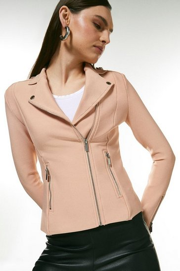 Blush Bandage Knit Zip Pocket Biker Jacket