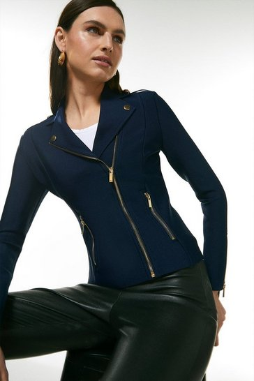 Navy Bandage Knit Zip Pocket Biker Jacket