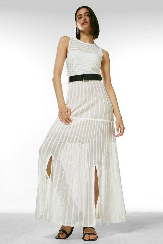 Ivory Sheer Stripe Maxi Belted Knit Dress