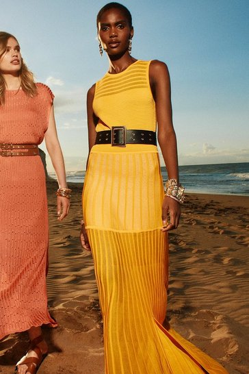Yellow Sheer Stripe Maxi Belted Knit Dress