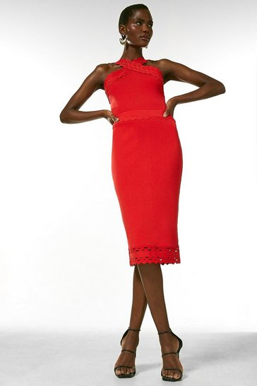 Red Scallop Pointelle Knitted Skirt