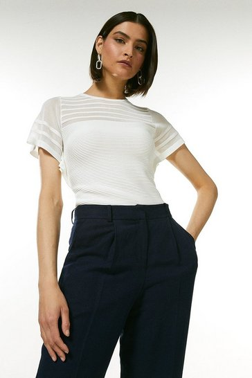 Ivory Sheer Stripe Frill Knitted Top