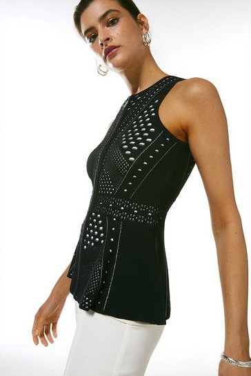 Black Pointelle Lace Knitted Peplum Top