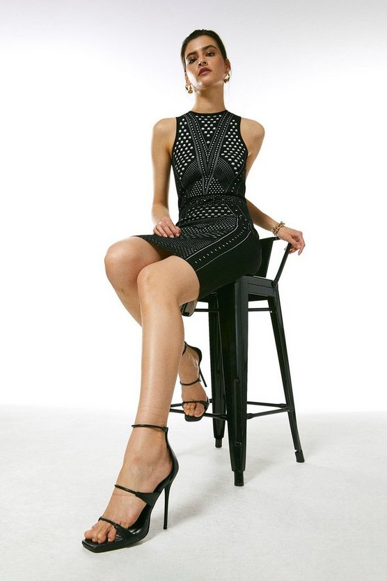 Black Pointelle Lace Fitted Knit Dress