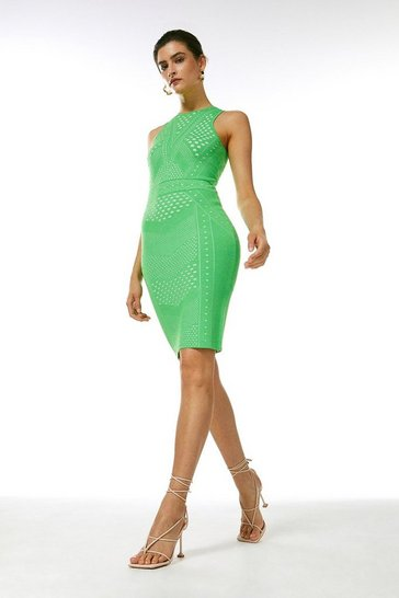 Green Pointelle Lace Fitted Knit Dress