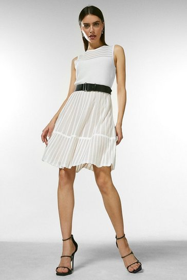 Ivory Sheer Stripe Belted Knit Skater Dress