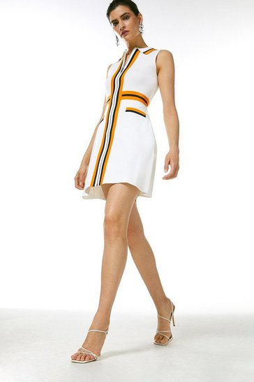 Ivory Sporty Full Needle Collared Knit Dress