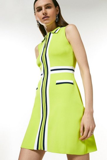 Lime Sporty Full Needle Collared Knit Dress