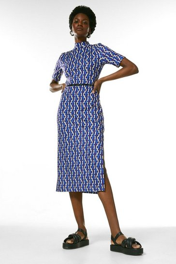 Navy Jersey Belted Drape Chain Midi Dress