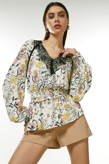 Floral Lace Trim Blouse With Shirred Waist