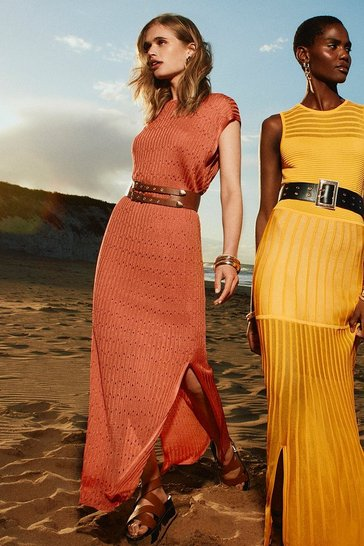 Rust Sheer Knit Pointelle Maxi Dress