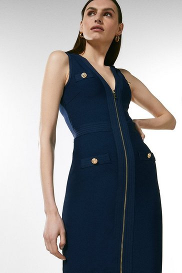 Navy Zip Through Military Bandage Dress