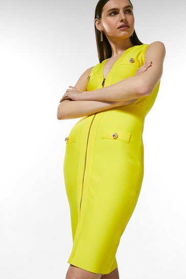 Yellow Zip Through Military Bandage Dress