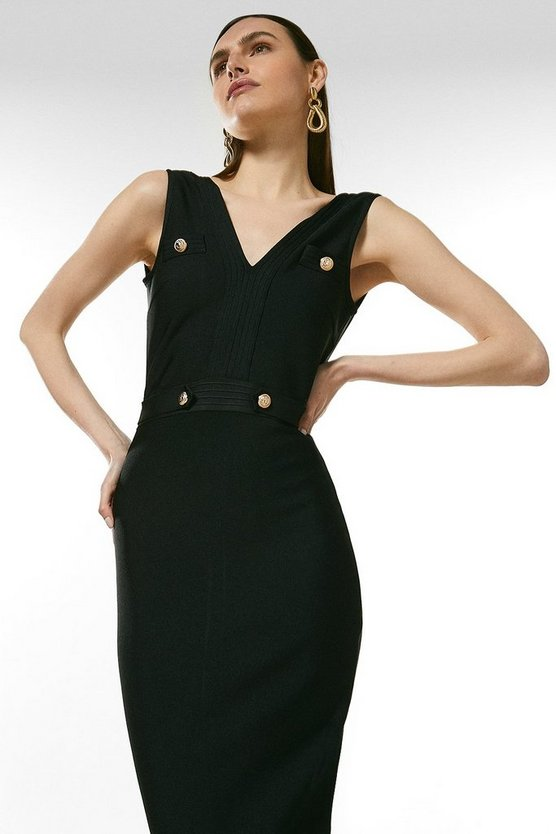 Black Zip Through Military Bandage Maxi Dress