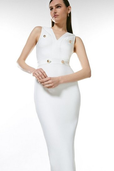 Cream Zip Through Military Bandage Maxi Dress
