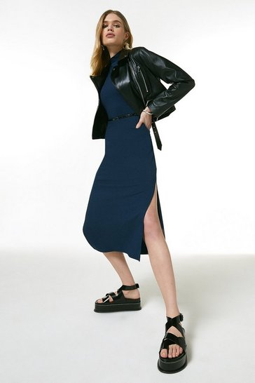 Navy Jersey Belted Drape Midi Dress