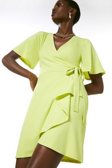 Lime Angel Sleeve Tie Wrap Jersey Dress