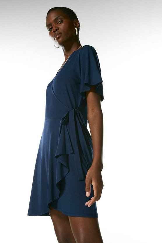 Navy Angel Sleeve Tie Wrap Jersey Dress