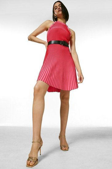 Hot pink Ripple Stitch Belted Knit Dress
