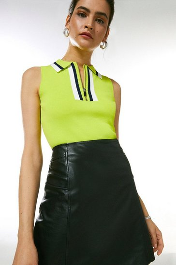 Lime Sporty Full Needle Collared Top