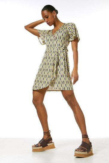 Lime Angel Sleeve Tie Wrap Chain Jersey Dress