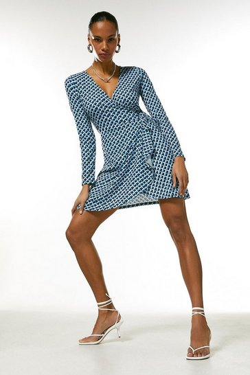 Blue Long Sleeve Jersey Km Logo Tie Wrap Dress