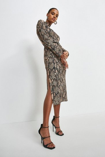Jersey Belted Drape Snake Midi Dress