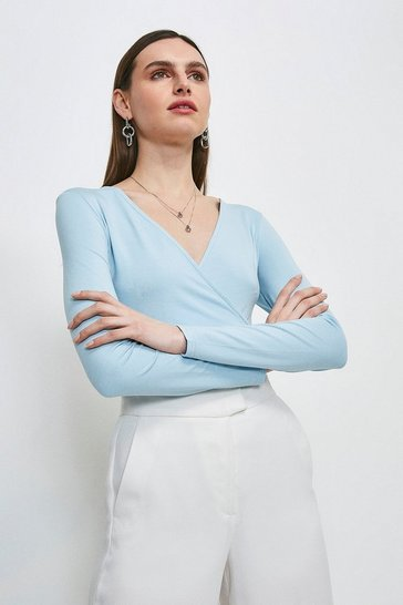 Dusty blue Long Sleeve Wrap Jersey Top