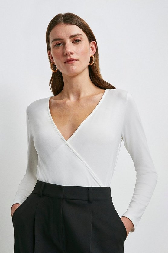 Ivory Long Sleeve Wrap Jersey Top