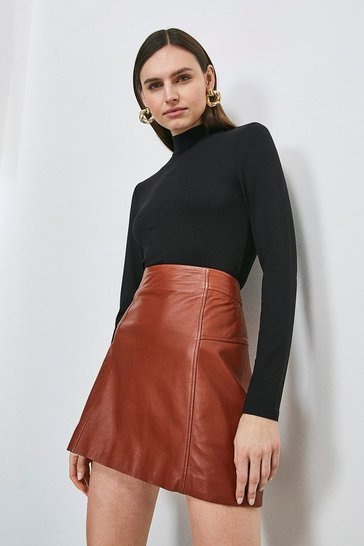 Black Long Sleeve Funnel Neck Jersey Top