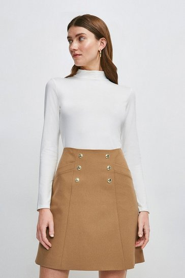 Ivory Long Sleeve Funnel Neck Jersey Top