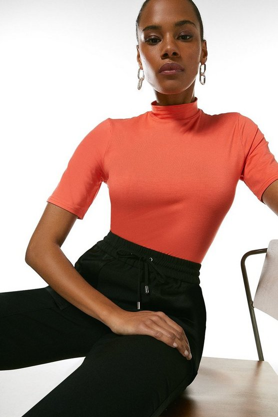 Coral Half Sleeve Funnel Neck Jersey Top