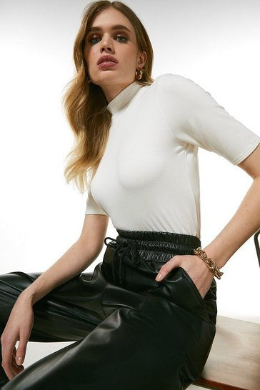 Ivory Half Sleeve Funnel Neck Jersey Top
