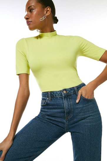 Lime Half Sleeve Funnel Neck Jersey Top