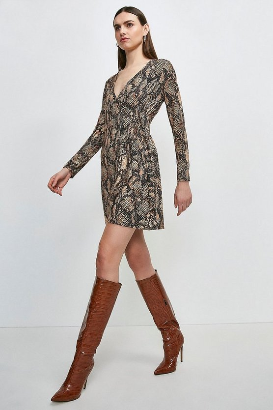 Long Sleeve Jersey Snake Tie Wrap Dress