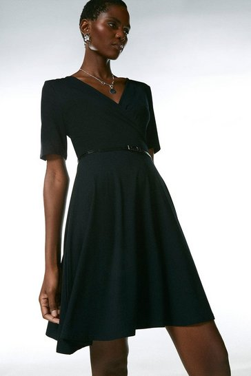 Black Half Sleeve Belted Jersey Wrap Dress