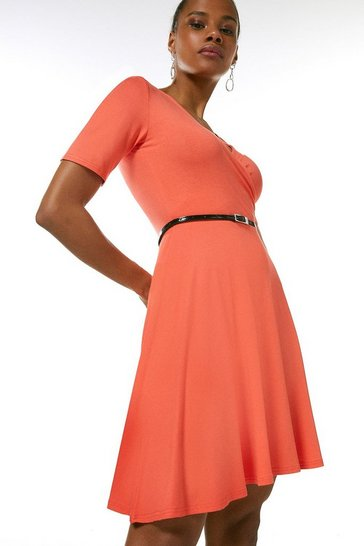 Coral Half Sleeve Belted Jersey Wrap Dress