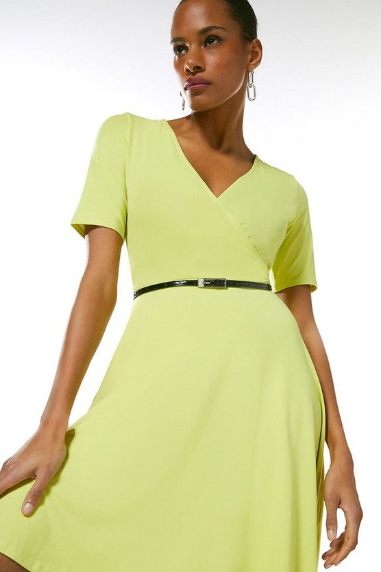 Lime Half Sleeve Belted Jersey Wrap Dress