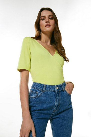 Lime Half Sleeve Wrap Jersey Top