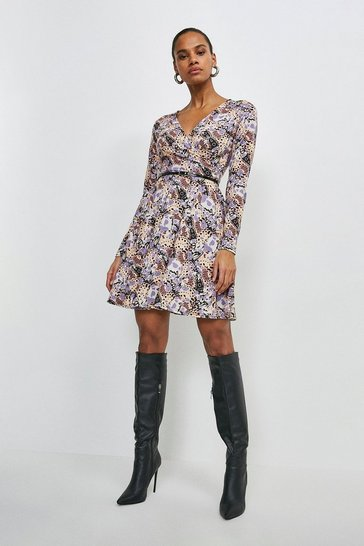 Multi Long Sleeve Wrap Butterfly Jersey Dress