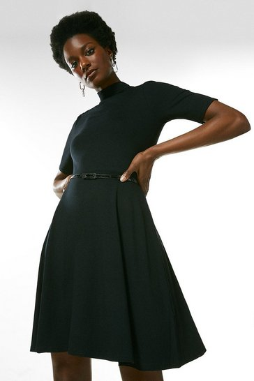 Black Half Sleeve Funnel Neck Jersey Dress