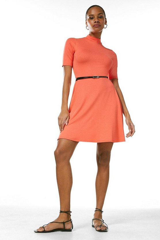 Coral Half Sleeve Funnel Neck Jersey Dress