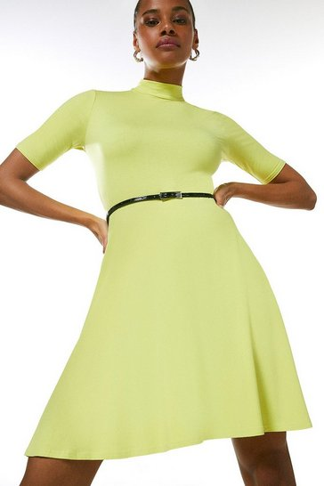 Lime Half Sleeve Funnel Neck Jersey Dress