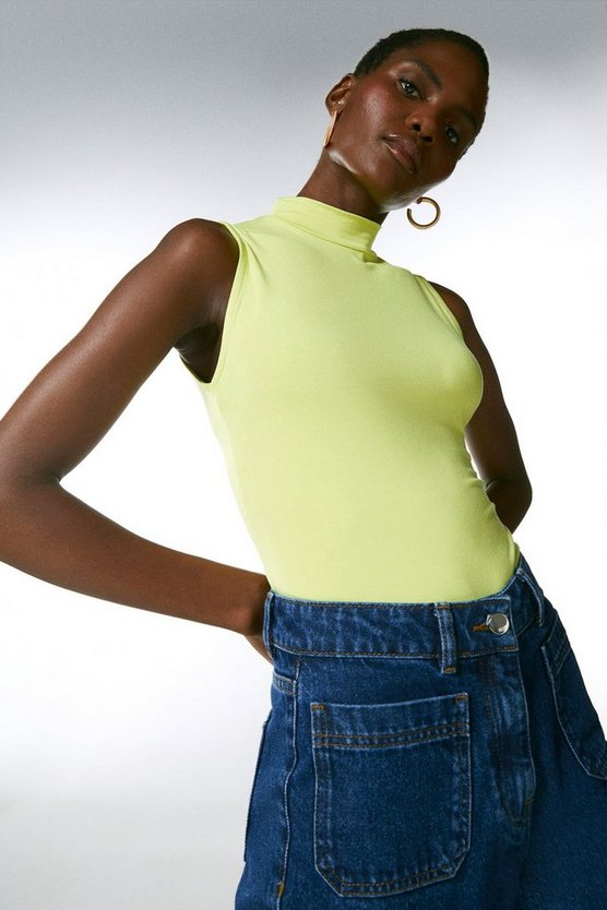 Lime Sleeveless Funnel Jersey Top