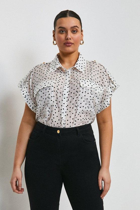 White Curve Silk Cotton Spot Shirt With Pockets