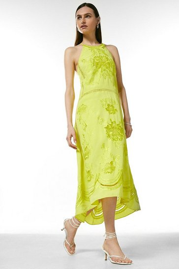 Soft lime Embroidered Cross Back Halter Midi Dress
